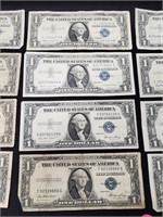 (140) 12 $1 SILVER CERTIFICATES