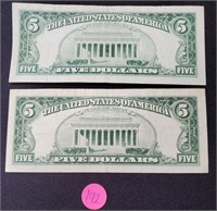 (142) 2 RED SEAL $5.00 BILLS