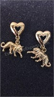 2 Pair Pierced Earrings (pair with hearts marked