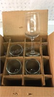 """Hand Cut """"S"""" Engraved Anchor Hocking Wine Glasses"""