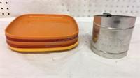 Set of 5 Tupperware Plates &  Vintage Foley Flour