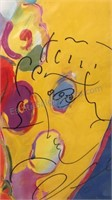 Large Peter Max Red Angel with Heart Autographed