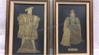 Pair of Framed Brass Art- Henry VIII & Elizabeth