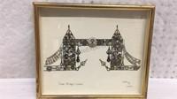 Tower Bridge London Collage  Art by L Kersh 11x12
