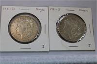 1921 D & S Morgan Dollars