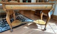 Oak Library Table w/ Shield Sides