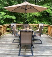 """40"""" x 64"""" Patio Table w/6 Arm Chairs"""