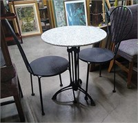 Mineral Top Table W/ 2 Metal Chairs 24x29