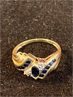 10k Gold & Blue Sapphire Ring Size 7
