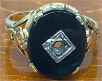 Ladies 10K Black Onyx Ring
