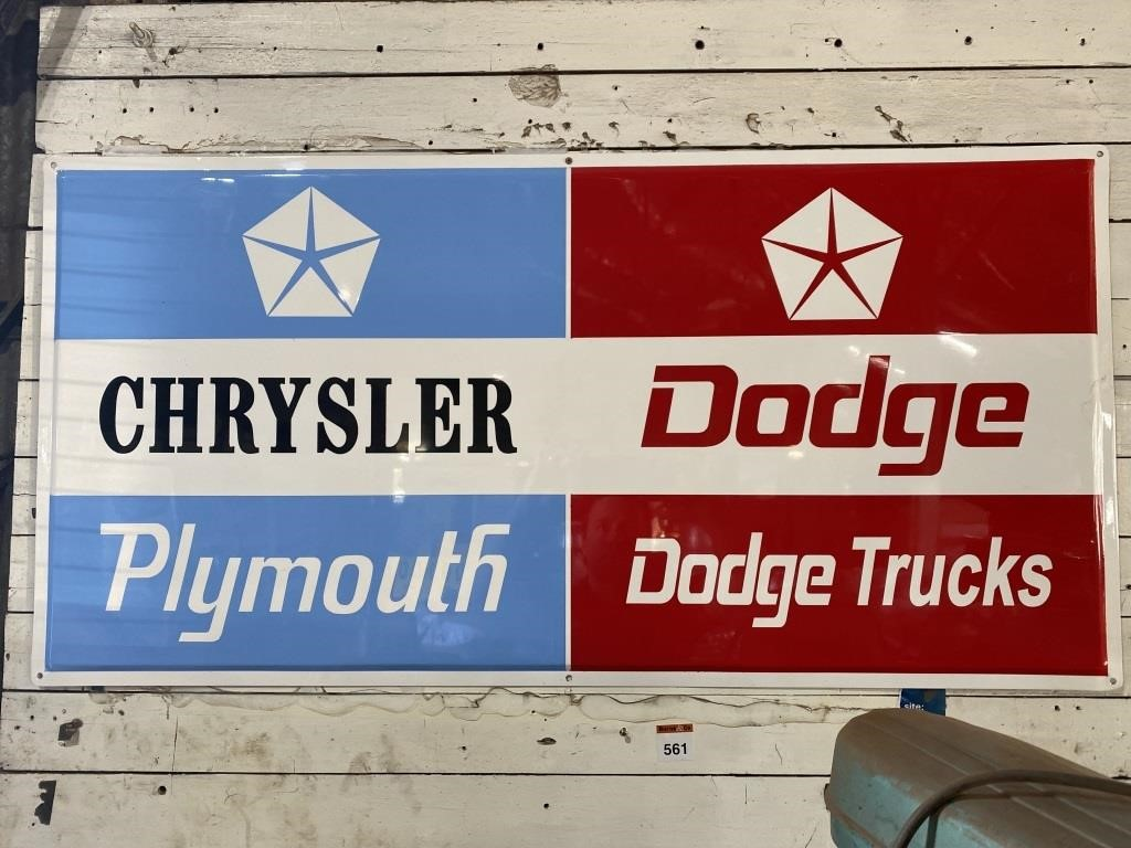Chrysler Dodge Folded Edge Tin Sign 1200x600