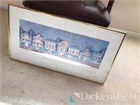 (2) Scenic framed artwork, brass tone floor