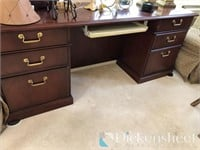 Laminate credenza with keyboard pullout,