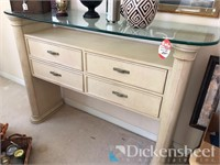 Four drawer with glass buffet, contents not
