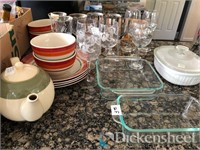 Lot of china, kitchenwares as photographed.