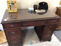 Wood double pedestal desk with