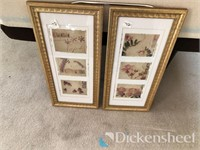 (2) Framed artwork along with office supplies