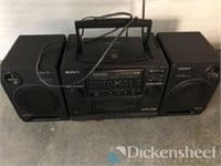 Sony portable stereo, box of kitchenwares,