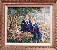 "11 - NICE FRAMED ""BROTHERS"" PAINTING"