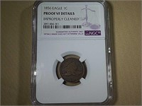 1856 FLYING EAGLE CENT, PROOF VF DETAILS (NGC)
