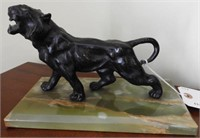 Lot # 4152 -Cast metal black panther statue