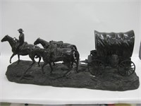 "34"" Signed Cast Bronze Horse & Wagon Statue"