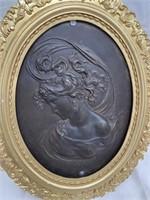 """FRAMED ANTIQUE BRONZE WOMAN 1800'S 21"""" X 18"""""""