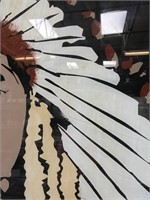 ANTIQUE WINDOW W/REVERSE HAND PAINTED INDIAN CHIEF