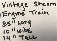 "VINTAGE STEAM ENGINE TRAIN 35"" LONG 10"" WIDE"