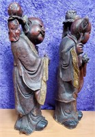 ANTIQUE CHINESE CARVED WOOD STATUE HE HE ERXIAN