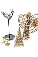 "Jewelry Tree 16"", Wicker Angel, Candle Stick"