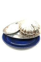 """Clam Shaped Serving Platter 13"""", Stainless Steel"""