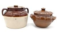 (2) Ceramic Pots with Lids