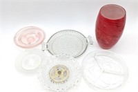Red Glass Vase, Assorted Glass Trays and Dishes