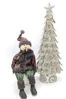 "Glitter Metal Tree 23.5"" and Snowman Decoration"