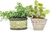 Faux Potted Plants, Ceramic Vase, Planter, and