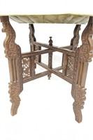 Decorative Brass Tray on Wooden Folding Pedestal