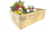 """Wooden Crate 13.5"""" x 21"""" Wreath and Stuffed Bear"""