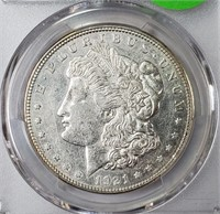 "1921 ""D"" ""AU50"" - MORGAN SILVER DOLLAR (12)"