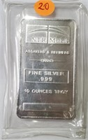 10 TROY OUNCES OF .999 FINE SILVER BAR (20)