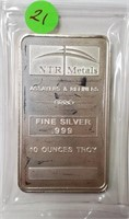 10 TROY OUNCES OF .999 FINE SILVER BAR (21)