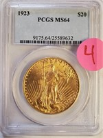 GRADED GOLD 1923 $20 DOLLAR COIN(4)
