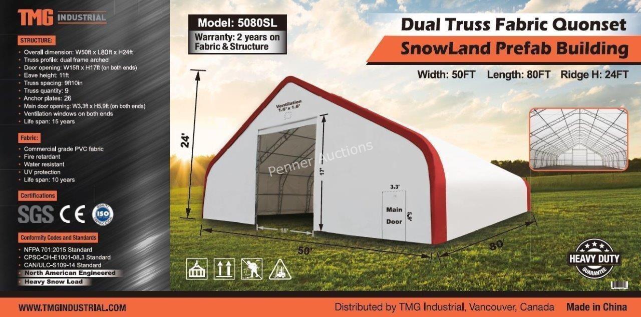 50'X80'X24' Dual Truss PVC Fabric Prefab Building