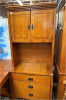 60 - NICE LARGE OFFICE DESK AND CUPBOARDS