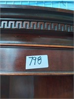 798 - BEAUTIFUL DARK WOOD CORNER CHINA HUTCH