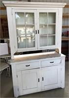 81 x 51 primitive chippy paint step back cupboard