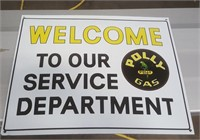 Porcelain Polly Gas Welcome Sign (16 x 12)
