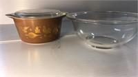 Pyrex 1qt Casserole Dish & Mixing Bowl