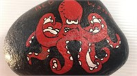 Hand Painted Detroit Red Wings Mascot Rock
