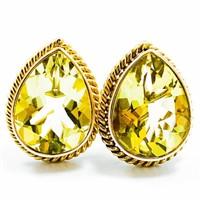 38 CT Pear Cut Peridot & 14k Gold MAZ Earrings